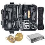 outdoor survival kit tactical pen, wire saw, flashlight, compass, paracord bracelet, carabiners, spoon, fork, credit card multi tool