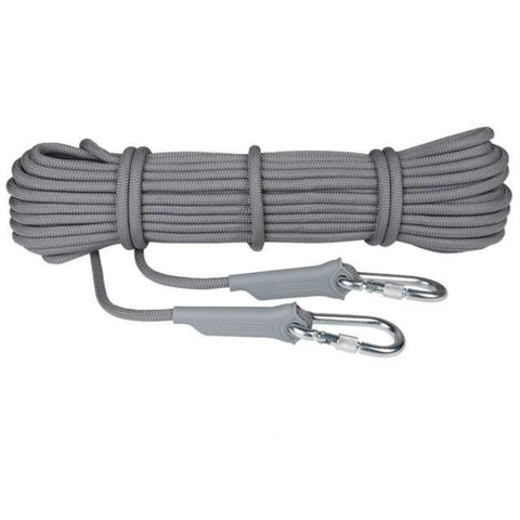 gray paracord with steel carabiners