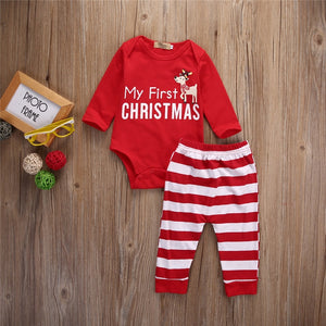 64317dbbb Infant Baby My First Christmas Baby Clothes Sets Long Sleeve Printing  Bodysuit+Stripe Pants