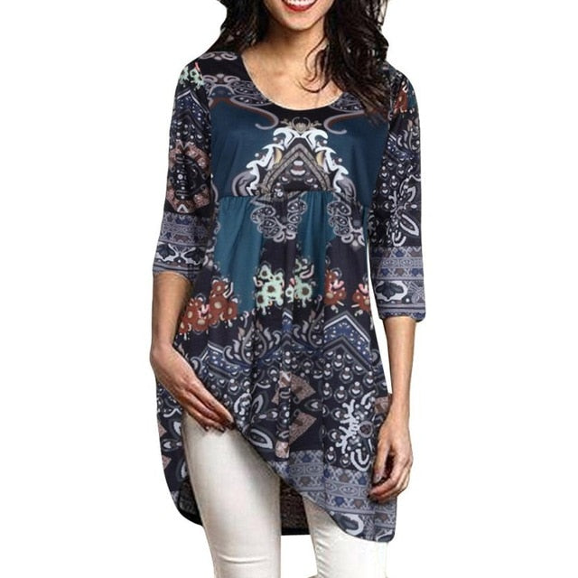 51210331e45 Plus Size 5XL Womens Tops and Blouses 2018 Tunic Floral Print Half ...