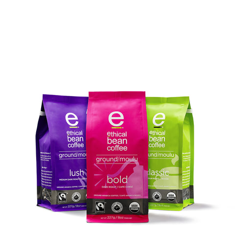 ground 3 pack - Ethical Bean Coffee Canada