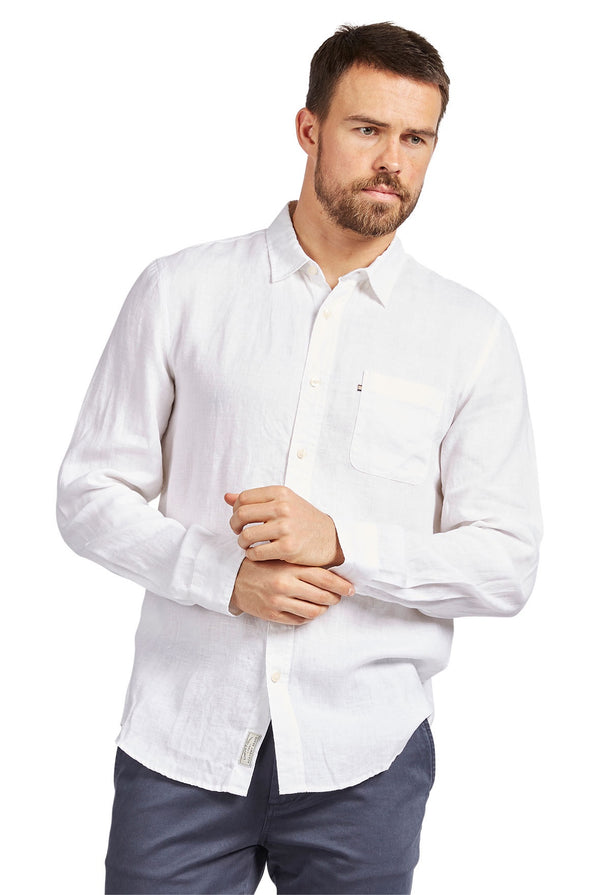 The Academy Brand Hampton Linen Shirt // White