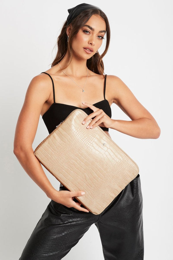 Meli - Nude Croc Lap Top Case
