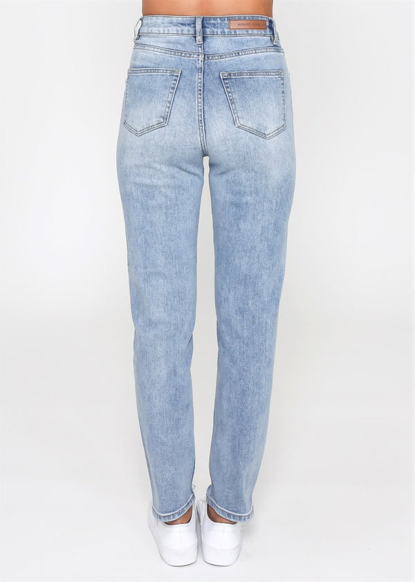Olivia Mom Jean - Blue Wash