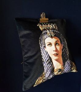 Velvet Cleopatra Vivien Leigh, Black and Gold cushion