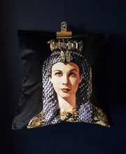 Load image into Gallery viewer, Velvet Cleopatra Vivien Leigh, Black and Gold cushion