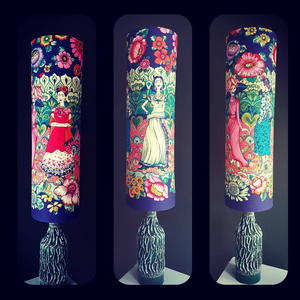 Frida kahlo tall lampshade in Dark Marine