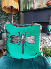 Load image into Gallery viewer, Green velvet Dragonfly cushion.