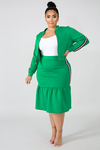 Mint Bomber Skirt Set