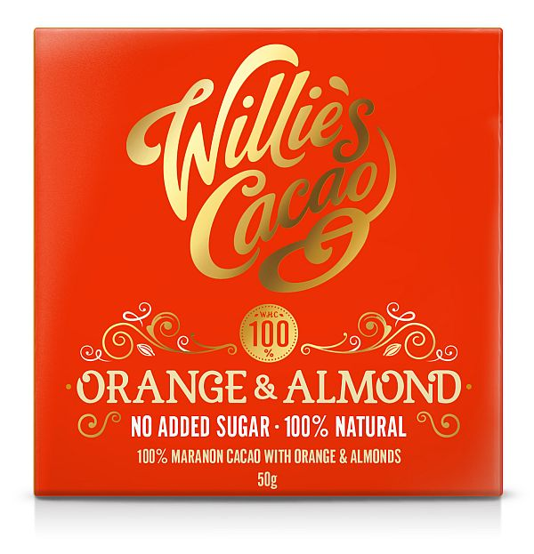 WILLIE'S ORANGE & ALMOND 100% CACAO