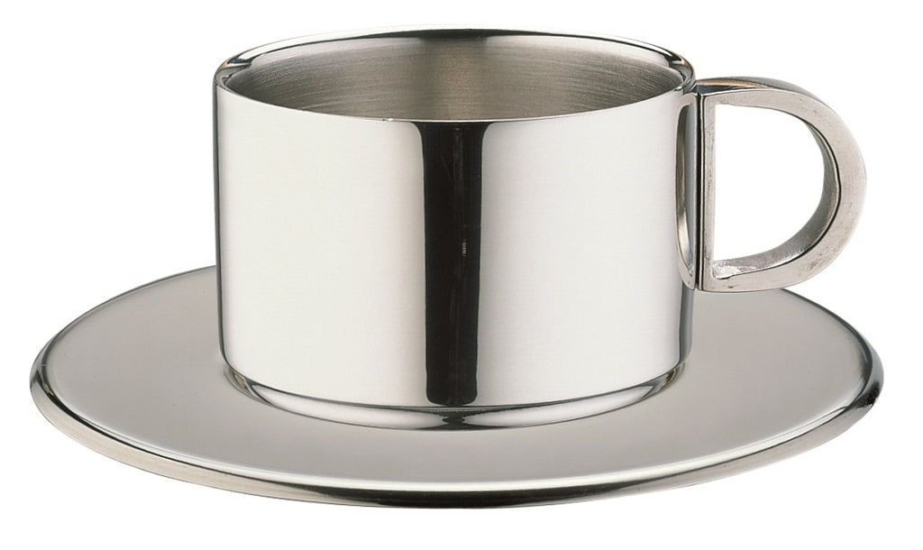18/10 STAINLESS STEEL ESPRESSO CUPS & SAUCERS