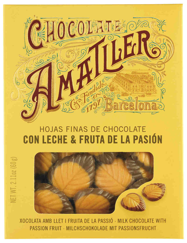 AMATLLER MILK CHOCOLATE & PASSION FRUIT LEAVES