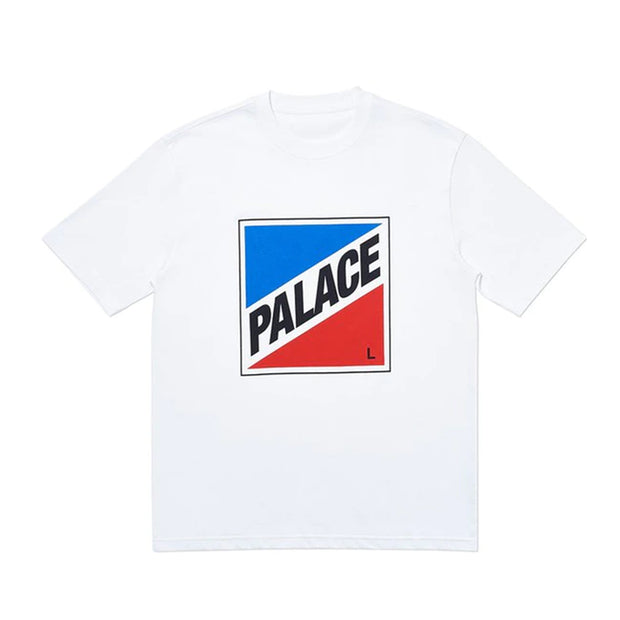 PALACE MY SIZE BLUE RED LOGO WHITE TEE (NEW) -