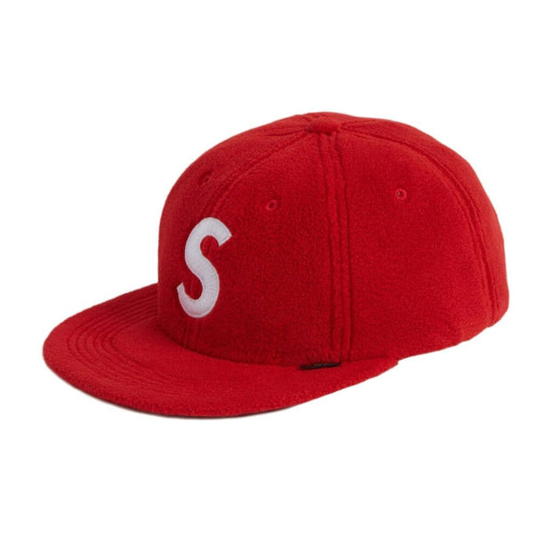 SUPREME S LOGO RED POLARTEC 6 PANEL CAP (NEW) ONE SIZE