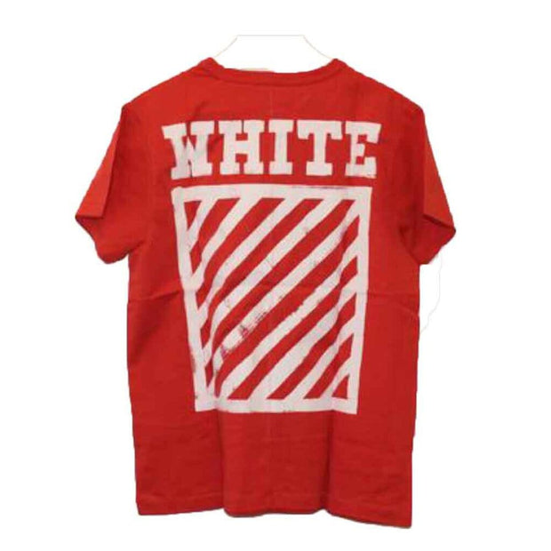 OFF WHITE RED BRUSHED DIAGONALS TEE (NEW) MEDIUM