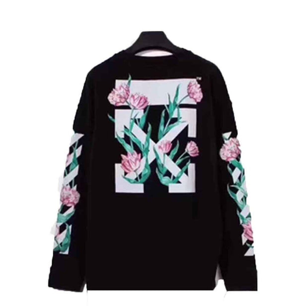 OFF WHITE TULIPS ARROWS BLACK SWEATER (NEW) XSMALL