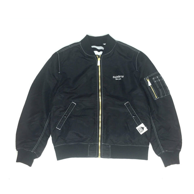 SUPREME SS17 MA1 REVERSIBLE CONTRAST STITCH BLACK BOMBER JACKET (NEW) -