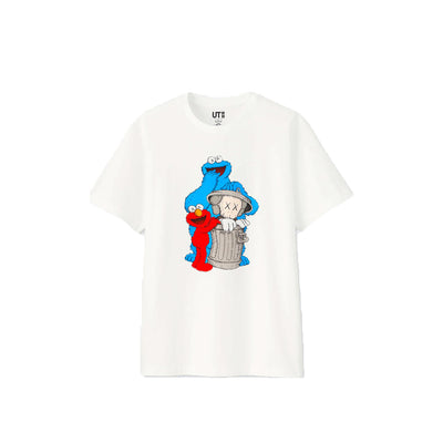 KAWS X SESAME STREET COOKIE MONSTER ELMO TRASHCAN WHITE TEE (NEW) -
