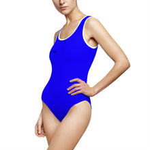 "Load image into Gallery viewer, ""Drippy Fish"" Blue Women's Classic One-Piece Swimsuit"