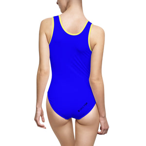 """Drippy Fish"" Blue Women's Classic One-Piece Swimsuit"