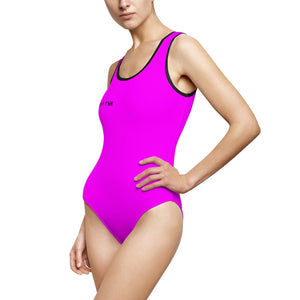 """Drippy Fish"" Pink Women's Classic One-Piece Swimsuit"
