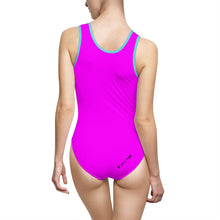 "Load image into Gallery viewer, ""Drippy Fish"" Pink Women's Classic One-Piece Swimsuit"