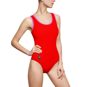 """Drippy Red"" Women's Classic One-Piece Swimsuit"