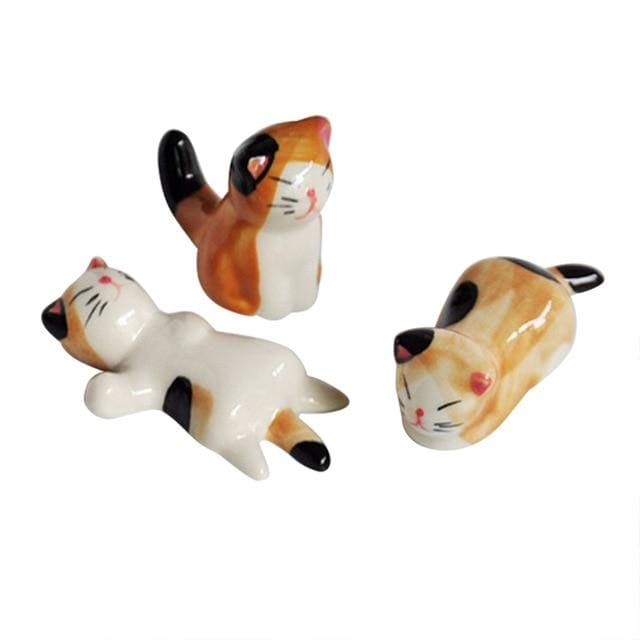3 Chopstick Holders Cats - Yellow - Chopstick Holders