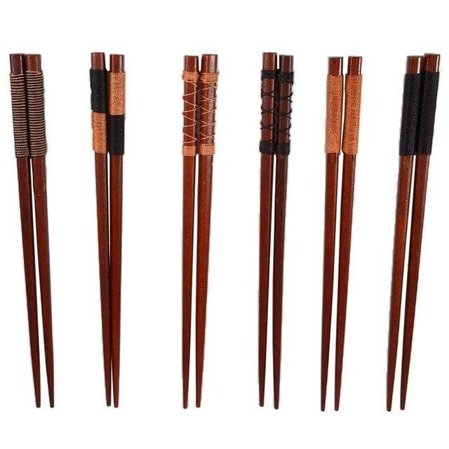 6 Chestnut Wood Chopsticks Mito - Chopsticks