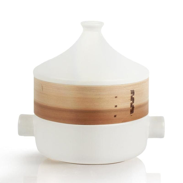 Donabe with Steamer Nara - White - Pots & Pans