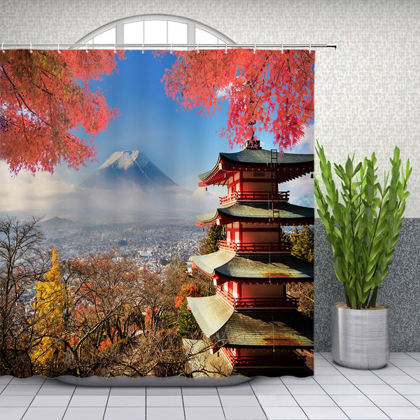 Shower Curtain Japanese Temple (4 sizes)