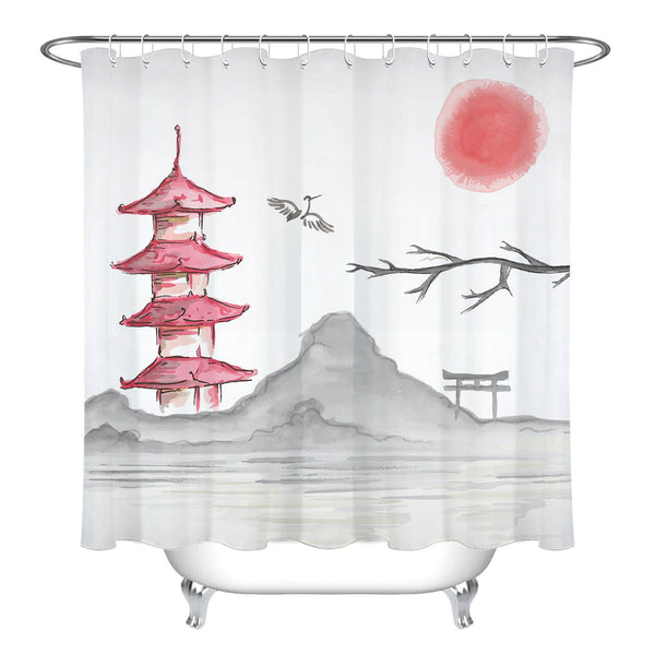 Shower Curtain Red Sun (5 Sizes)