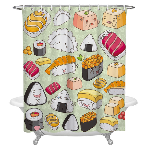 Shower Curtain Sushi Cartoon (6 sizes)