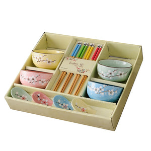 4 Bowls, 4 pairs of Chopsticks and 4 Spoons Set Mita ( 5 colors)