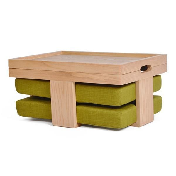 Table and 2 Cushions Hiroshima - Dark green seat - Table