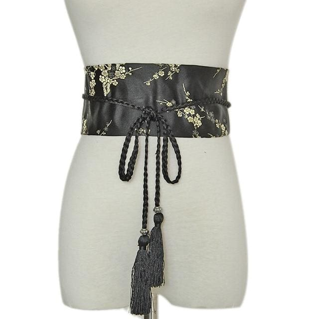 Woman Obi Belt Yoshimi - Black - a