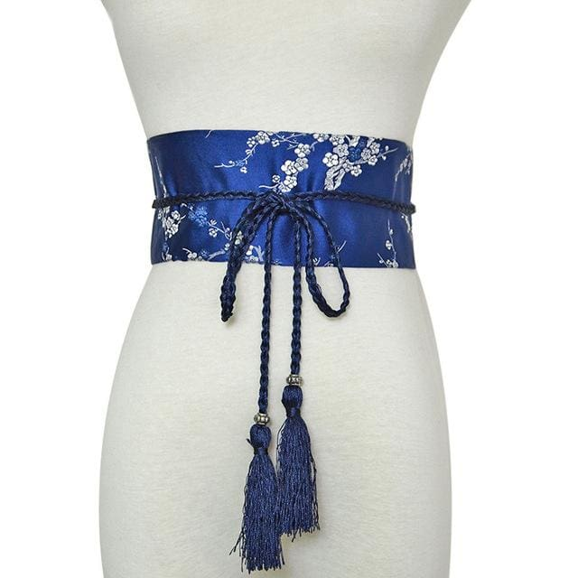 Woman Obi Belt Yoshimi - Blue - a