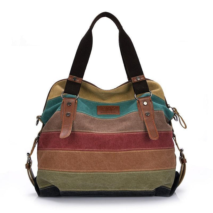 Canvas Patchwork Casual Women Handbag