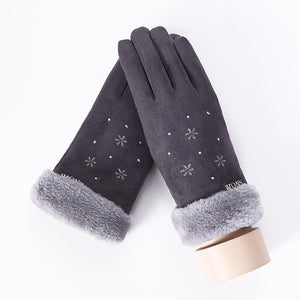 Women Cashmere Touch Screen Driving Gloves