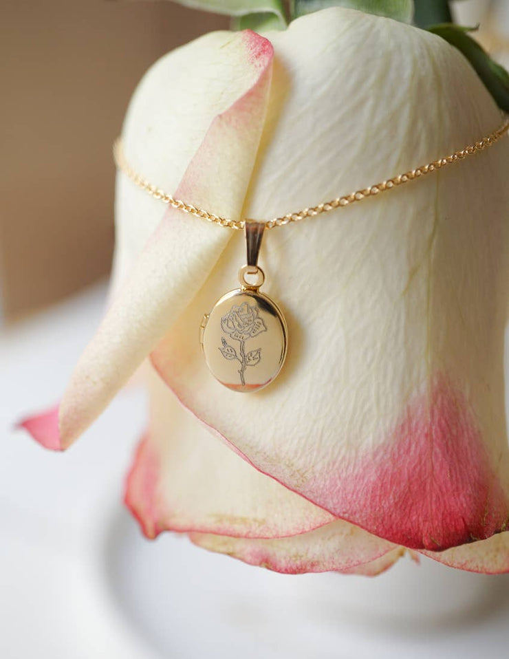 Rose Oval Locket Necklace