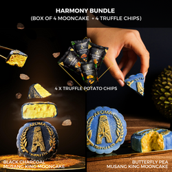 [Early Bird] Black Charcoal / Butterfly Pea Musang King Mooncake (Box of 4 Mooncake + 4 Truffle Chips)