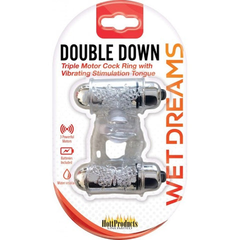 Double Down Vibrating Cock Ring (Clear)