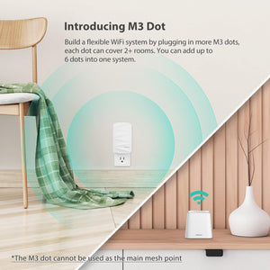 MeshForce Whole Home Mesh WiFi System M3 Suite (1 WiFi Point + 2 WiFi Dot),  for 5+ Bedrooms Home