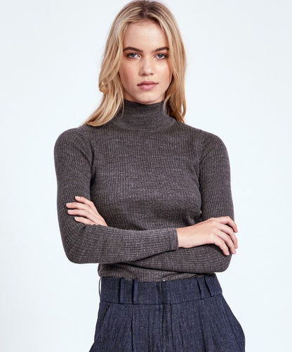 Morri Wool Rib High Neck, Charcoal | Morrison