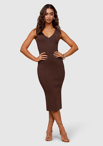 Rustic Knit Midi Dress, Danish Brown | Ministry of Style