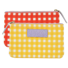 Load image into Gallery viewer, Gingham Yellow & Red Cosmetics Purse | Kip & Co