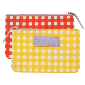 Gingham Yellow & Red Cosmetics Purse | Kip & Co