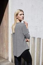 Load image into Gallery viewer, Stripe Frill Top - Charcoal