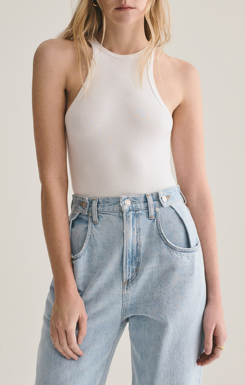 RIANNE HIGH NECK RACERBACK BODYSUIT IN WHITE | Agolde