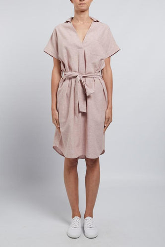 Sunday Linen Dress Musk Stripe | Cable Melbourne